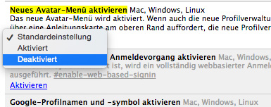 chrome user menu deaktivieren